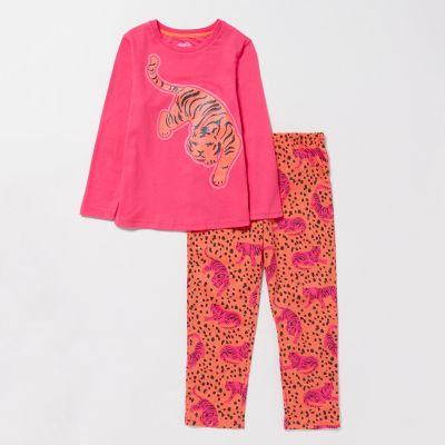 bluezoo Girls' Bright Pink Tiger Print Cotton Pyjama Set