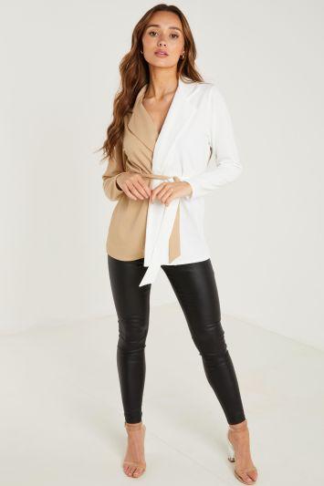 Quiz Stone and Cream Tie Belt Contrast Blazer