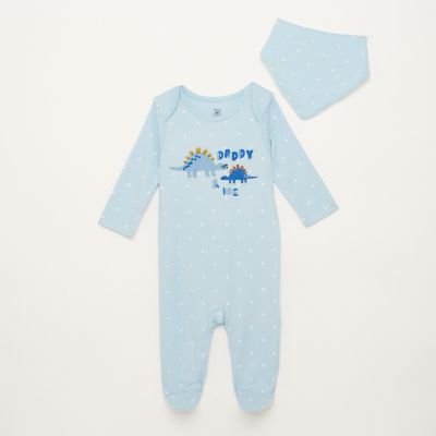 bluezoo Boys' Blue 'Daddy & Me' Spot Print Cotton Sleepsuit With Bib