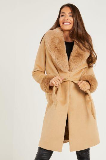 Quiz Camel Faux Fur Trim Belted Long Coat
