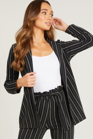 Quiz Black and White Stripe Button Blazer