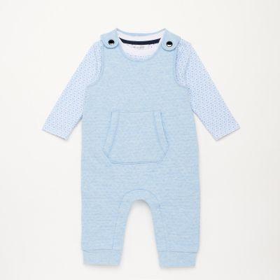 Lola & Maverick Babies' Blue Soft Dungaree and Top Set