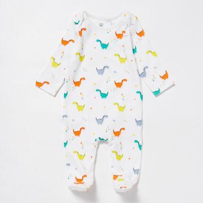 bluezoo Babies' White Dinosaur Sleepsuit