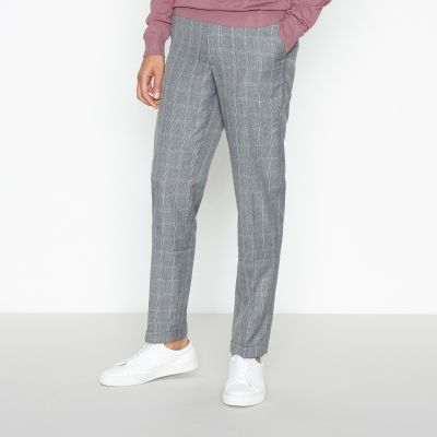 1778 Grey Windowpane Check Slim Fit Trousers