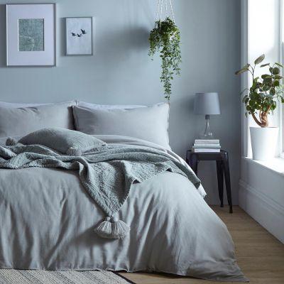 Debenhams Pale Green Linen Cotton Blend Bedding Set