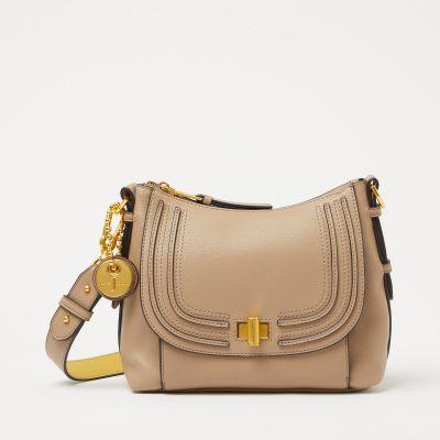J by Jasper Conran Taupe Faux Leather Twist Lock 'City' Cross-Body Bag