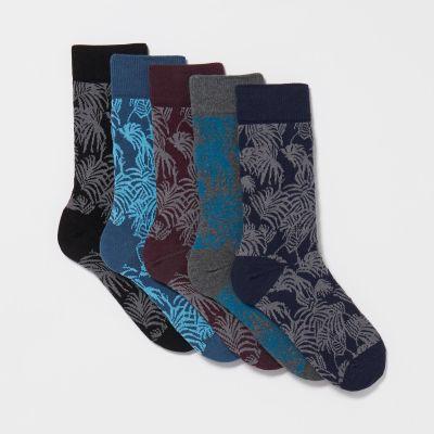 Debenhams Pack Of 5 Assorted Leaf Pattern Socks