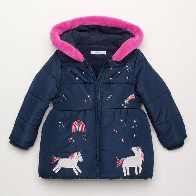 bluezoo Girls' Navy Blue Unicorn Applique Coat