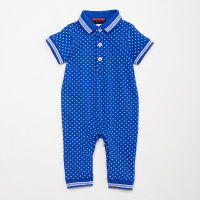Lola & Maverick Baby Boys' Blue Spot Print Cotton Romper