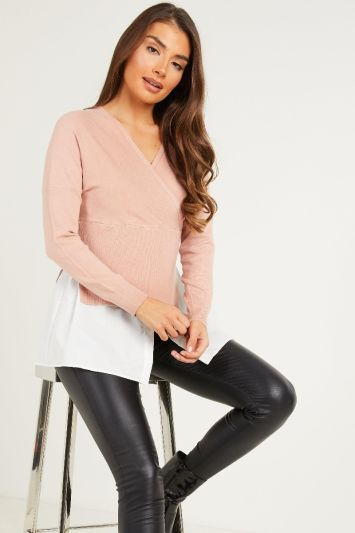 Quiz Pink Knitted Wrap Jumper