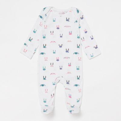 bluezoo Baby Girls' White Bunny Print Sleepsuit
