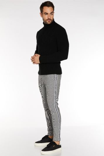Quizman Dogtooth Check Trousers with Taping