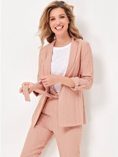 Mandco Striped Linen Pink Blazer
