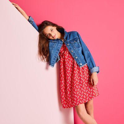 bluezoo Girls' Blue Cotton Denim Jacket