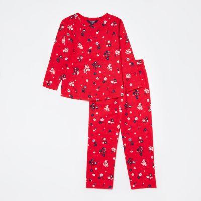 Maine New England Girls' Red Floral Print Cotton Pyjama Set