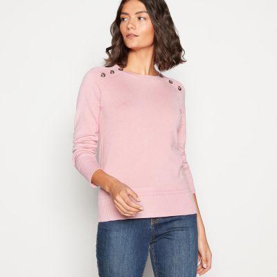 Principles Light Pink Button Shoulder Knitted Jumper