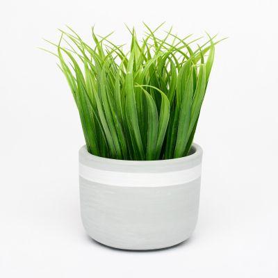 Debenhams Medium Artificial Grass Succulent Plant in Grey Stripe Pot