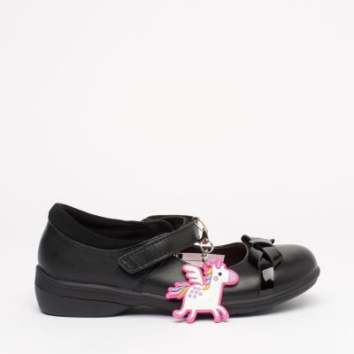 Debenhams Girls' Black Bow Front Leather School Shoes With Keyring