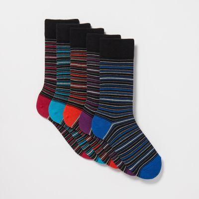 Debenhams Pack Of 5 Dark Grey Striped Socks