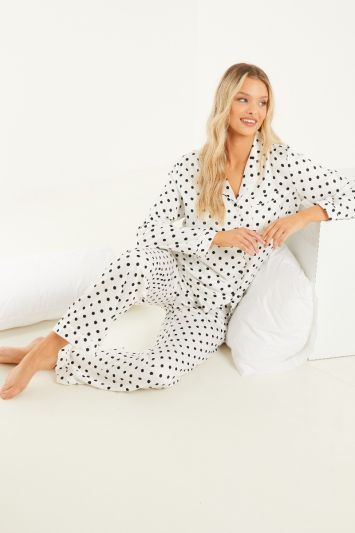 Quiz White Polka Dot Long Pyjama Set