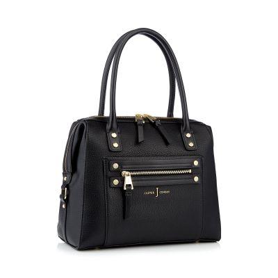 J by Jasper Conran Black studded zip detail bowler bag