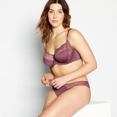 Gorgeous DD+ Mauve 'Meagan' Lace Underwired Non-Padded Balcony Bra