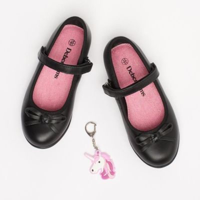 Debenhams Girls' Black Leather Ballet School Shoes