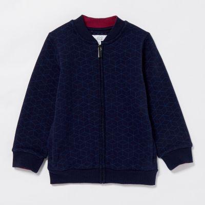 Lola & Maverick Boys' Navy Geometric Print Cotton Jacket