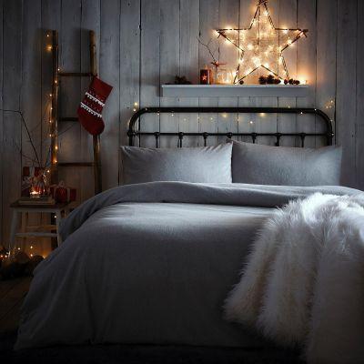 Debenhams Grey Brushed Cotton Melange Duvet Set