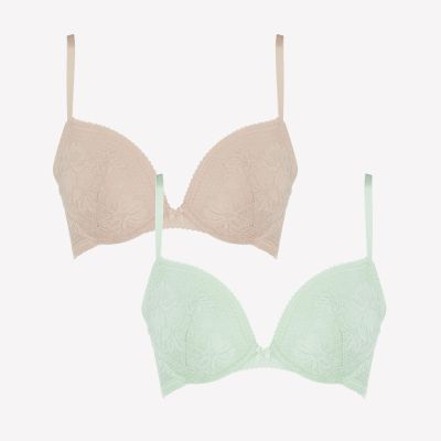 Debenhams 2 Pack Pale Green and Pale Pink 'Ruby' Lace Underwired Padded T-Shirt Bras