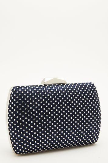 Quiz Navy Satin Diamante Box Bag