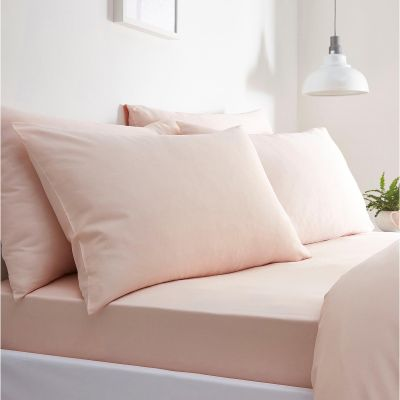 Debenhams Pink 100% Cotton Sateen 300 Thread Count Fitted Sheet Set