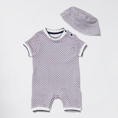 Lola & Maverick Baby Boys' Rising Sun Print Romper Suit with Hat