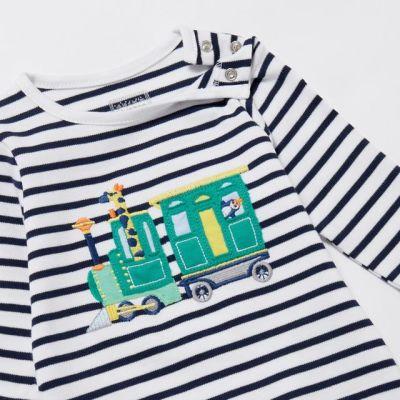bluezoo Babies Navy Striped Train Applique Sleepsuit