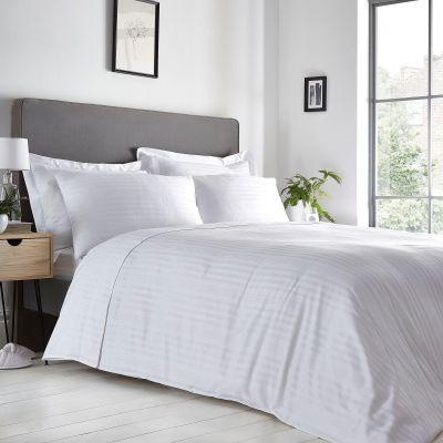 Debenhams White 100% Cotton Sateen Stripe 300 Thread Count Duvet Cover