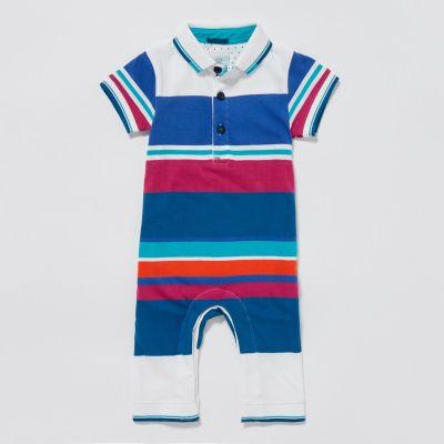 Lola & Maverick Boys' Multicoloured Striped Print Romper Suit