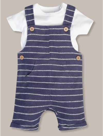 Mandco Striped Dungaree and Tee Set (Newborn-18mths)