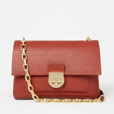J by Jasper Conran Dark Orange Faux Leather 'Paris' Shoulder Bag