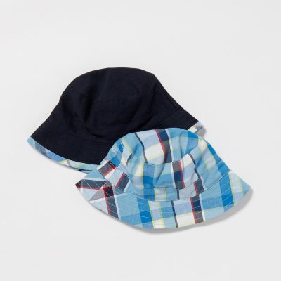 bluezoo 2 Pack Baby Boys' Navy Checked Hats