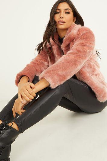 Quiz Pink Short Faux Fur Collar Jacket