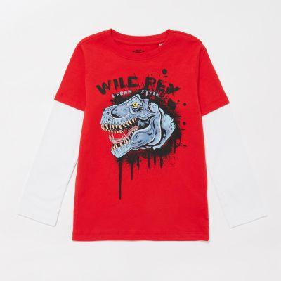 bluezoo Boys' Blue Wild Rex Print T-Shirt