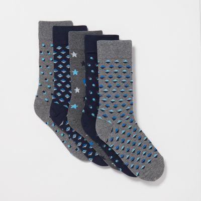 Debenhams Pack Of 5 Grey and Navy Patterned Socks