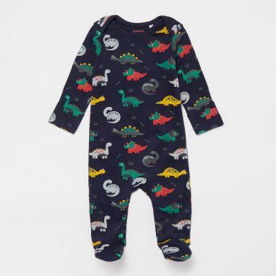 bluezoo Baby Boys' Navy Dinosaur Print Sleepsuit