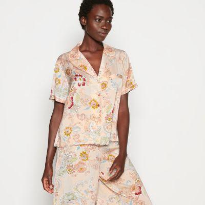 Nine by Savannah Miller Pink Floral Print Revere Pyjama Top