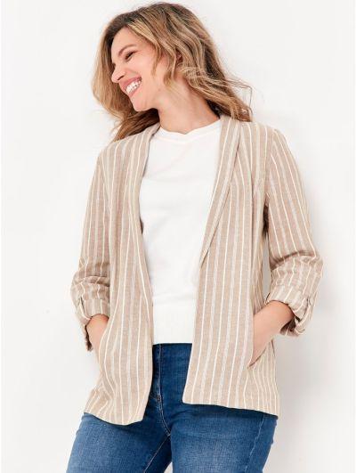 Mandco Striped Linen Blazer