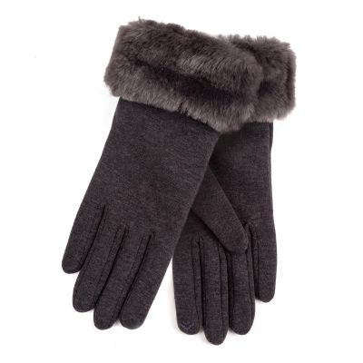 Totes Grey Faux Fur Cuff Smartouch Thermal Gloves