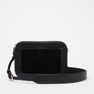 KLEY Black Suede Front Panel 'Parker' Shoulder Bag