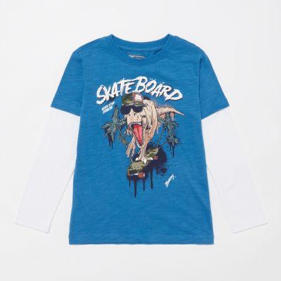 Mantaray Boys' Blue Dino Skate T-Shirt
