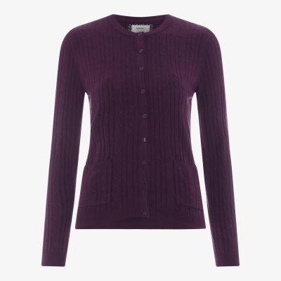Maine New England Dark Purple Ultrasoft Cable Knit Cardigan