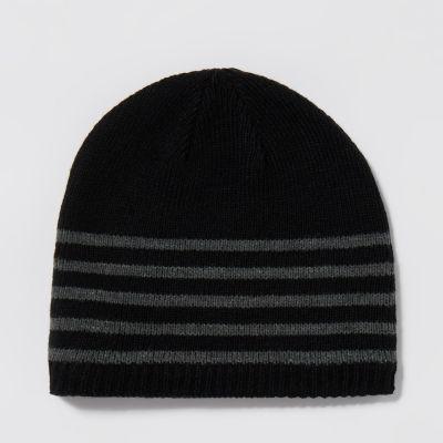 Mantaray Black Striped Beanie